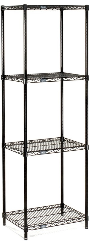Nexel Wire shelving unit black with 4 shelves