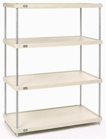 Nexel Plastic Shelving - 4 shelf unit with chrome, poly z brite or Nexelon finish.