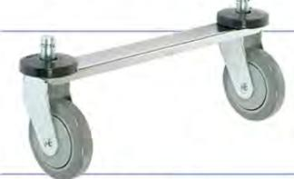 Tie bars for rigid stem casters for use with wire or plastic carts